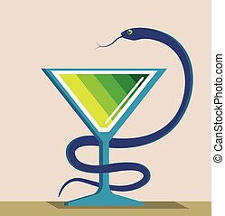 Color Glass with Snake Poison Medicine Illustration Vector