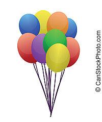 color, globos, aislado, blanco