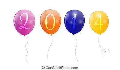 Color glossy balloons 2014 new year background vector illustration