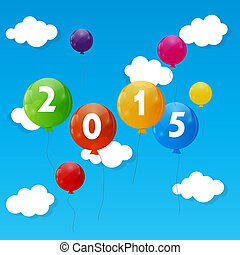 Color Glossy Balloons 2015 New Year Background Vector...