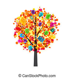Color Glossy Balloons Tree Background. Happy Birthday Concept. V
