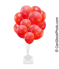 Color Glossy Balloons with  Envelope Vector Illustration