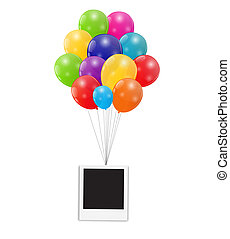 Color Glossy Balloons with Instant Photo Background Vector...