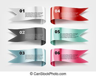 Color Glossy Fflying Flags Or Banners With Text