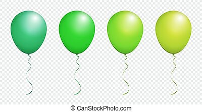 Color Glossy Green Balloon isolated on White in Vector Set