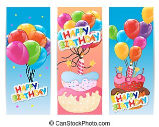 Birthday Balloons And Cake Illustration Of A Guy Holding Birthday