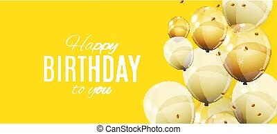 Color Glossy Happy Birthday Balloons Banner Background Vector Illustration
