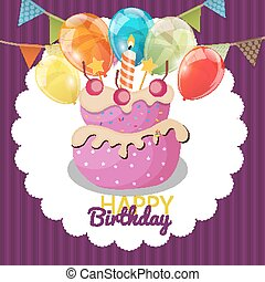 Color Glossy Happy Birthday Flags And Cake Banner Background Vector