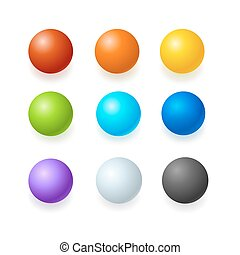 Color Glossy Spheres or Button Set. Vector