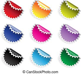 Color glossy stickers in jaggies with reflection