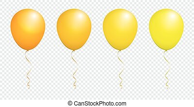Color Glossy Yellow Balloon isolated on White in Vector Set