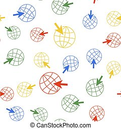 Color Go To Web icon isolated seamless pattern on white background. Globe and cursor. Website pictogram. World wide web symbol. Vector