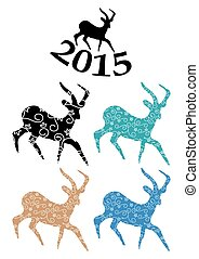 color goats - vector symbol of chinese 2015 year