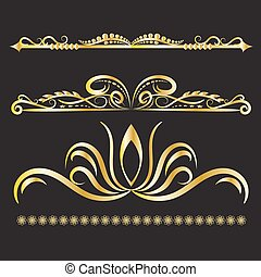 Color Gold Vintage Decorations Elements Flourishes Calligraphic Ornaments and Frames Black background