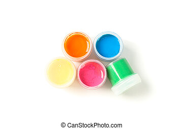 Color gouache paint cans isolated on white background, top view