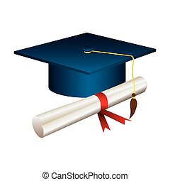 color graduation hat with diploma