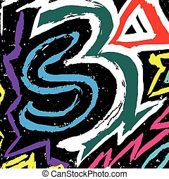 color graffiti lines on a black background vector illustration