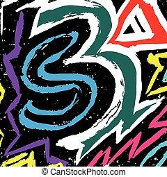 color graffiti lines on a black background vector illustration