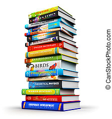 color, grande, libros, pila, hardcover