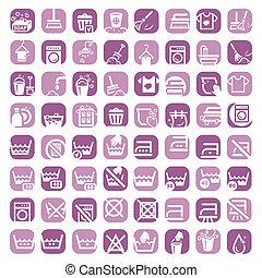 color, grande, limpieza, iconos