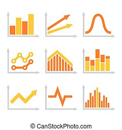 Color Graph Chart Icons Set on White Background. Vector
