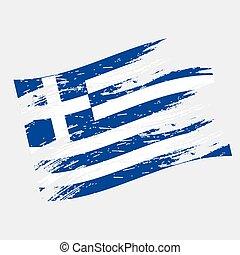 color greece national flag grunge style eps10