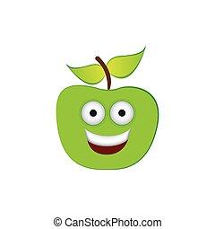 color green kawaii fruit apple happy icon