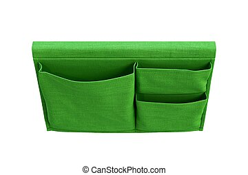 Color green kids bed pocket for books. 3d render