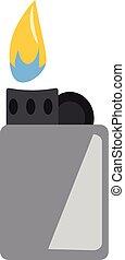 color, gris, ilustración, o, cigarrillo, vector, llama, encendedor, zippo, dibujo