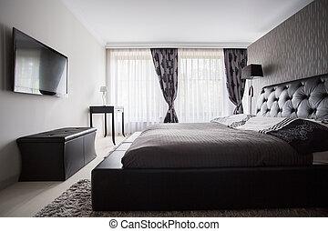 color, gris, lujo, dormitorio