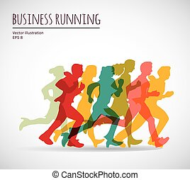 Color group people business running.