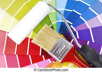 color, guía, brocha, dechado