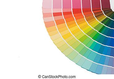 color, guía, plano de fondo, aislado, selección, blanco