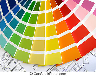Color Guide - Color samples for selection with house plan on...