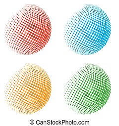 color halftone spheres abstract design elements eps10