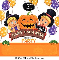 Halloween party design with cute kids