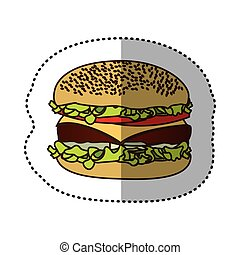 color hamburger fast food icon