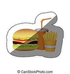 color hamburger, soda and fries french food