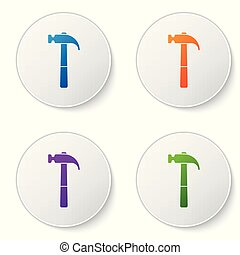 Color Hammer icon isolated on white background. Tool for repair. Set color icon in circle buttons. Vector Illustration