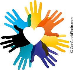 Color hand and heart