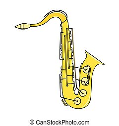 Color hand-drawn musical instrument - saxophone.