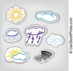 color, hand-drawn, tiempo, conjunto, iconos