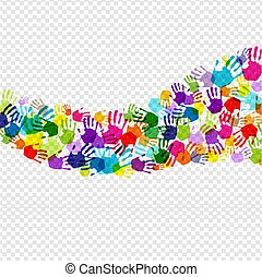 Color Hand Print Isolated Transparent Background