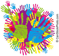 color hand print - vector color children's and parents'...