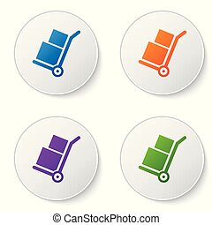 Color Hand truck and boxes icon isolated on white background. Dolly symbol. Set color icon in circle buttons. Vector Illustration