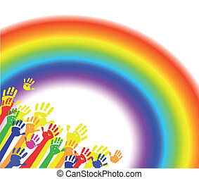 Abstract color hands palms with rainbow background. Vector ollustration.