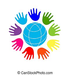 Color Hands Surrounding the Earth Globe. Unity, world peace. Isolated on white background.