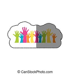 color hands up together icon