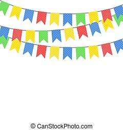Color hanging flags. Vector illustration