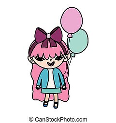 color happy girl child with nice balloons